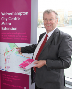 Centro Chairman Cllr John McNicholas on the Metro tram extension stand at Wolverhampton bus station