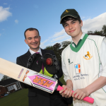 Bowled over – Will Johnson from Pickering and Butters with U15's player Joshua Nunan.