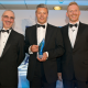 WLV-Business Achievement Awards - Andy Holding Uni of Wol Stephen ShaylorFJ Shaylor Builders Ltd and presenter David Keeling