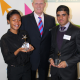 Tamika Smith and Nav Bansal - who won apprenticeships with Centro - Centro chief executive Geoff Inskip