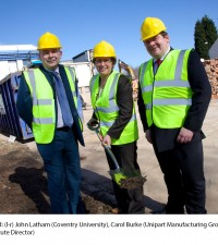 Breaking Ground (l-r) John Latham (Coventry University), Carol Burke (Unipart Manufacturing Group) and Carl Perrin (Institute Director)