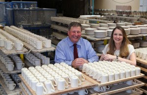 Max Dudson and Katie Dudson, with some of their latest Vitrified range (white) and Evolution ware.