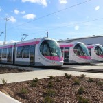 Getting ready for action; the first of the new £40 million fleet line up at the Midland Metro depot in Wednesbury.