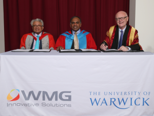 MOU signing between the University of Warwick, Carnegie Mellon University and WMG. L-R Professor Lord Kumar Bhattacharyya Chairman of WMG, Professsor Subra Suresh President CMU, and University of Warwick Vice Chancellor Professor Nigel Thrift