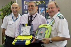 Centro's health and safety manager Dave Hadley (centre) with community defibrillator facilitator Stuart Grainger, left, and community response manager Andy Jeynes, both of West Midlands Ambulance Service NHS Foundation Trust.