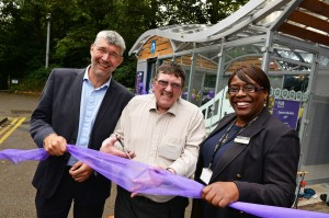 (l-r): Conrad Jones, Centro's head of sustainability, Cllr Roger Horton, Centro's lead member for rail and Brenda Lawrence, London Midland's head of route for Snow Hill lines cut the ribbon to open the Cycle Hub.