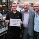 L to R: Bryony Bates with Fracino founder Frank Maxwell and sales manager John McGinnell.