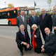 Cllr Mark Deaville, rear left, Staffordshire County Council Cabinet Member for Transport, Andrew Christie of ISP, Cllr Peter Bilson, Deputy Leader of Wolverhampton Council and Cabinet Member for Economic Regeneration and Prosperity, Peter Coates, managing director of NX Bus, Centro chief executive Geoff Inskip, front left, Cllr Judith Rowley and Cllr Bob McCardle, Cabinet Member for Street Services for South Staffordshire Council, launch the 54 service at i54 South Staffordshire.