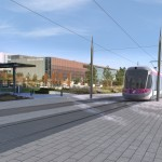 A Computer generated image of how the trams would look in Eastside near Millennium Point.