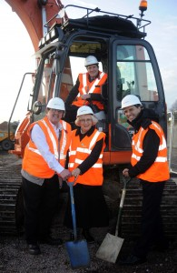 (l-r front) Cllr Roger Horton, Cllr Judith Rowley and Cllr Tim Huxtable join Mark Goodall in getting work started on a 100 space extension to Kings Norton's free park and Ride facility