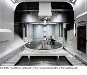 Inside the new Dorries Contumat vertical turning/milling lathe at the Nuclear AMRC.