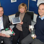 l to r: Richard Stonier (Deans), Beverley Stevens (BTJ) and William O'Brien (Deans) with some of the industrial electronics components applicable for R&D relief.
