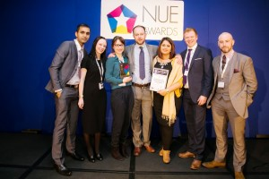 Mike Grey (centre) and the EC Futures team collect their award at this year's National Undergraduate Employability Awards.
