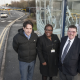 James Morris MP, left, Brenda Lawrence and Cllr Roger Horton by the Cycle Hub at Rowley Regis Park and Ride.