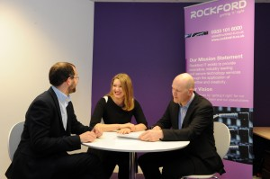 Lynn Morrison from Opus Energy discusses Rockford IT's marketing boost with Darren Kirby (L) and Nick Deane (R)