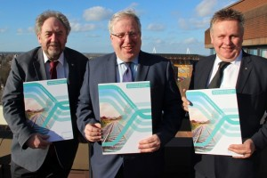 Cllr Roger Lawrence, left, Transport Secretary Patrick McLoughlin MP and Cllr Mark Winnington.