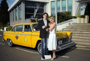 """Marilyn Monroe Look-a-like Annabel Jones and """"Marco Pierre White"""" are on hand to open the new Marco Pierre White New York Italian Restaurant at the Birmingham Holiday Inn"""
