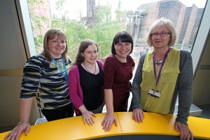 (L-R) Michelle Brooker, Amelia Hamson, Andrea Bolshaw and Helene Devane from Coventry University's registry team, which is shortlisted for a THELMA.