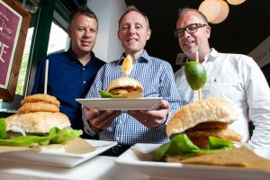L-R (Richard Sargeant, Owner, handmade burger Company;  Clive Broadhurst, Investment Director, Finance Birmingham; Chris Sargeant, Owner, handmade burger Company)