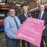 Cllr Roger Horton (left) Geoff Inskip and Peter Coates bid farewell to the last of the T69 trams and look to the future with the Transforming Tram Travel agreement
