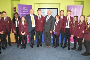 Nadhim Zahawi and Lord Digby Jones with visiting students from Studley High School