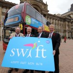 Cllr Roger Lawrence, left, Cllr John McNicholas, Peter Coates and Centro chief executive Geoff Inskip launch the Swift Pay As You Go card.