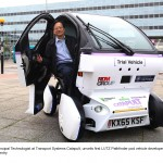 Eric Chan, Principal Technologist at Transport Systems Catapult, unveils first LUTZ Pathfinder pod vehicle developed by RDM Group in Coventry