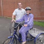 BikeRight! instructor Lee Sicilia with 85-year-old Irene Povey – officially their oldest pupil.