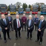 Chris Bridges of Johnsons, left, Peter Coates of National Express West Midlands, Keith Myatt of Arriva Midlands, Cllr John McNicholas, Dave Sterland of iGo, Chris Simes of Stagecoach, Ian McKeever of Claribels, and Geoff Cross of Central Buses.