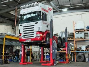 Caption: The new TOTALKARE hydraulic lifts in action at Davison Transport.