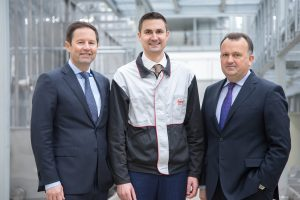 Jürgen Otto, CEO Brose Group (left), and Periklis Nassios, Vice President Seat Systems (right), during their visit to Coventry with Brose UK Managing Director Juergen Zahl.
