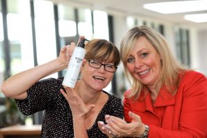 Wilson Vale head of housekeeping, Katrina Gorzelanczyk (left) with Samantha Brown, head of Conference Aston, enjoying black poppy and wild fig hand wash from The Soap Co. 3