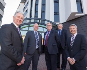(l-r) Cambridge & Counties Bank's Neil Reddington, Paul Atkinson of Finance 4 Business, CCB's Mike Kirsopp and Simon Lindley, and Shaylor Group's Stephen Shaylor