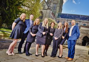 Sally Morris (centre) with the Employment & HR Services team from mfg Solicitors