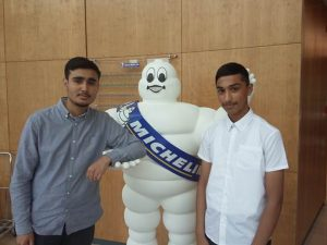 Left to right – Waleed Hussain and Shoaib Akhter from Thistley Hough Academy who have been on work placement this week at Michelin.