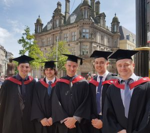 Bright spark. Fracino quality assurance manager, Daniel O'Donnell (far right) with fellow graduates.