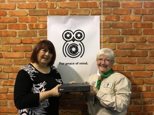 Karen-Fenton-hands-over-the-CCTV-Kit-to-Maureen-Baverstock