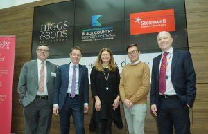Caption: Pictured this morning at the Higgs & Sons event are, from left: Paul Hunt, Managing Partner at Higgs & Sons; Andy Street, WMCA Mayor; Julia Lowe, Partner at Higgs; Reece Pope of Stonewall and Paul Barker, Partner at Higgs.