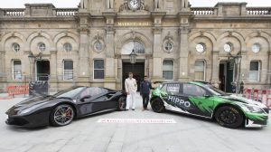 Ferrari and Skoda rally car with Fahad Hussain, Hippo Motor Group Marketing Manager and Miles Parkinson leader of Hyndburn Borough Council