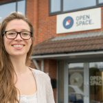Dr Sarah Stewart, Space Co-ordinator at Open Space. Who have benefitted from a Business Energy Efficiency Programme (BEEP) grant.