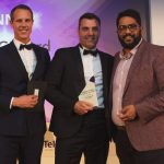(l-r) Tom Somerville from the award sponsors, Gary Gilburd and comedian Eshaan Akbar