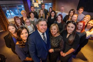 Sentinel Business Awards-Family affair.. Dukes Bailifs of Dukes Court, Stone. Front row, MD Colin Naylor, to his right finance director Elaine Naylor and daughter managers Laura Naylor, left and Sarah Naylor right who are seen with the admin team.