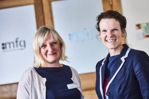 Trudy Berlet from Worcestershire Maternity Bereavement Suite with Kirsten Bridgewater of mfg Solicitors