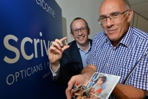 Scrivens Opticians & Hearing Care's marketing manager Martin Elwell (left) with Paul Wood