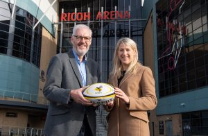 Stuart Cain, chief executive of Wasps, and Michelle Mills of Bromwich Hardy