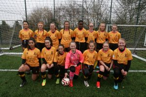 Clarke Willmott partner, Jonathan Morton, with Alvechurch U15 Ladies coach and team
